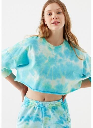 Mavi Batik Desenli Yeşil Crop Sweatshirt Yeşil